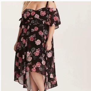 NWOT Torrid floral cold shoulder high low dress